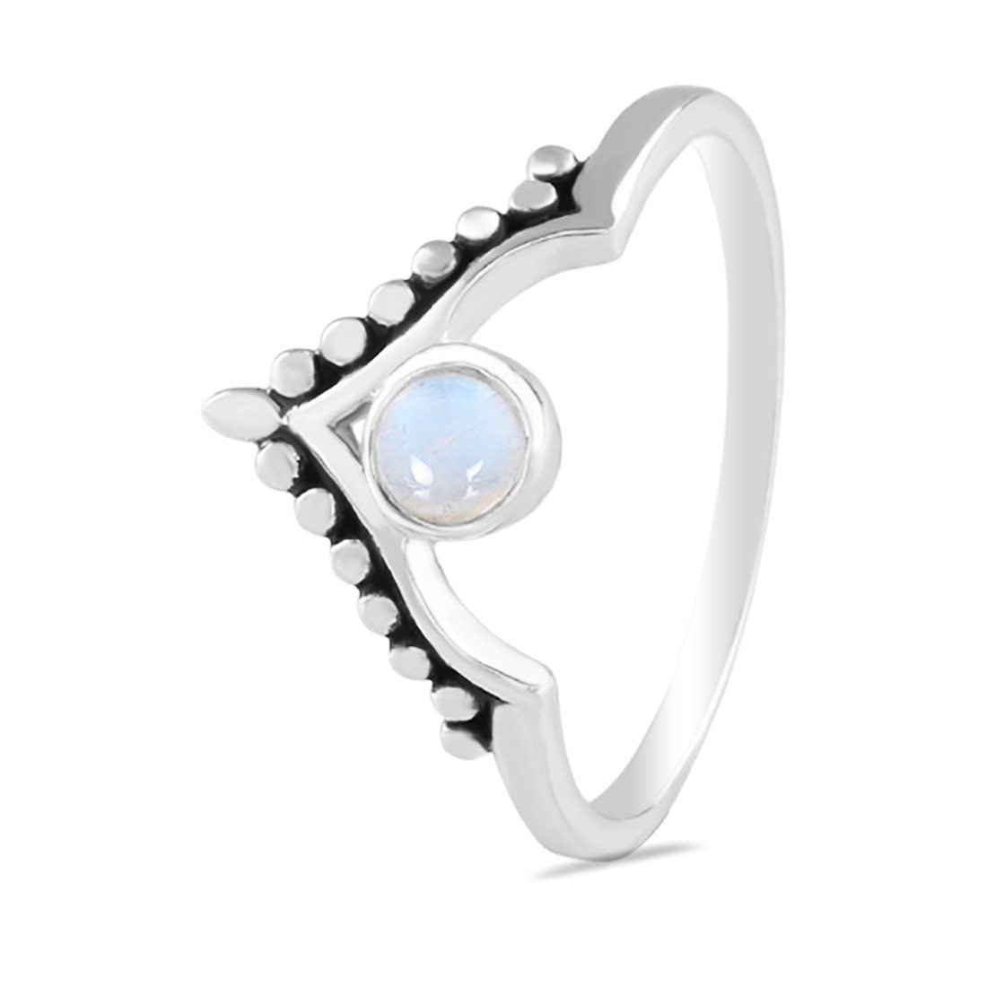 Moonstone Ring-Crowned Moon Moonstone Ring 925 SILVER & MOONSTONE