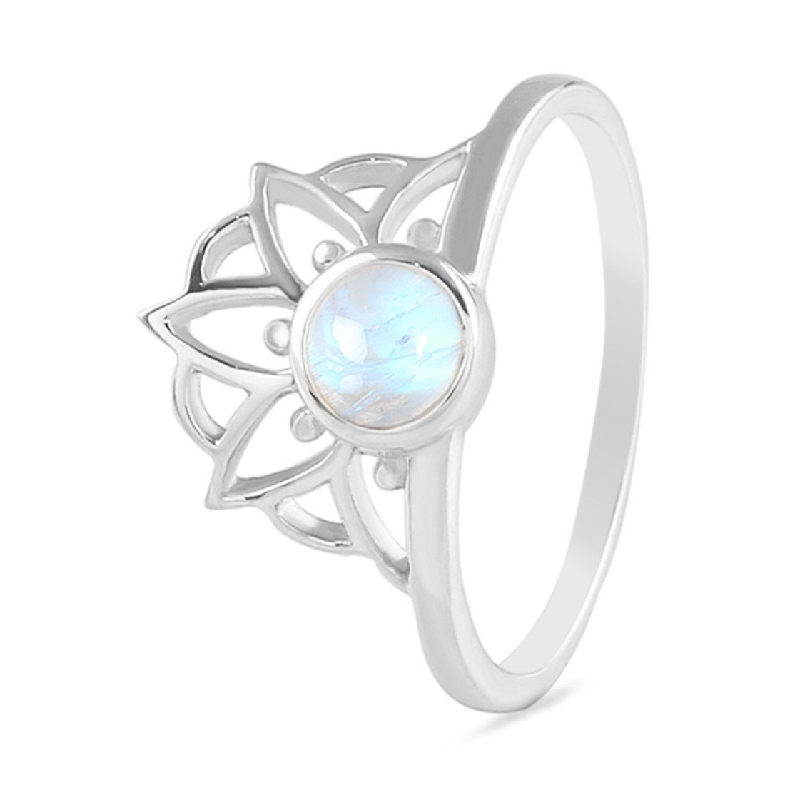Moonstone Ring-Floral Highness Moonstone Ring 925 SILVER & MOONSTONE