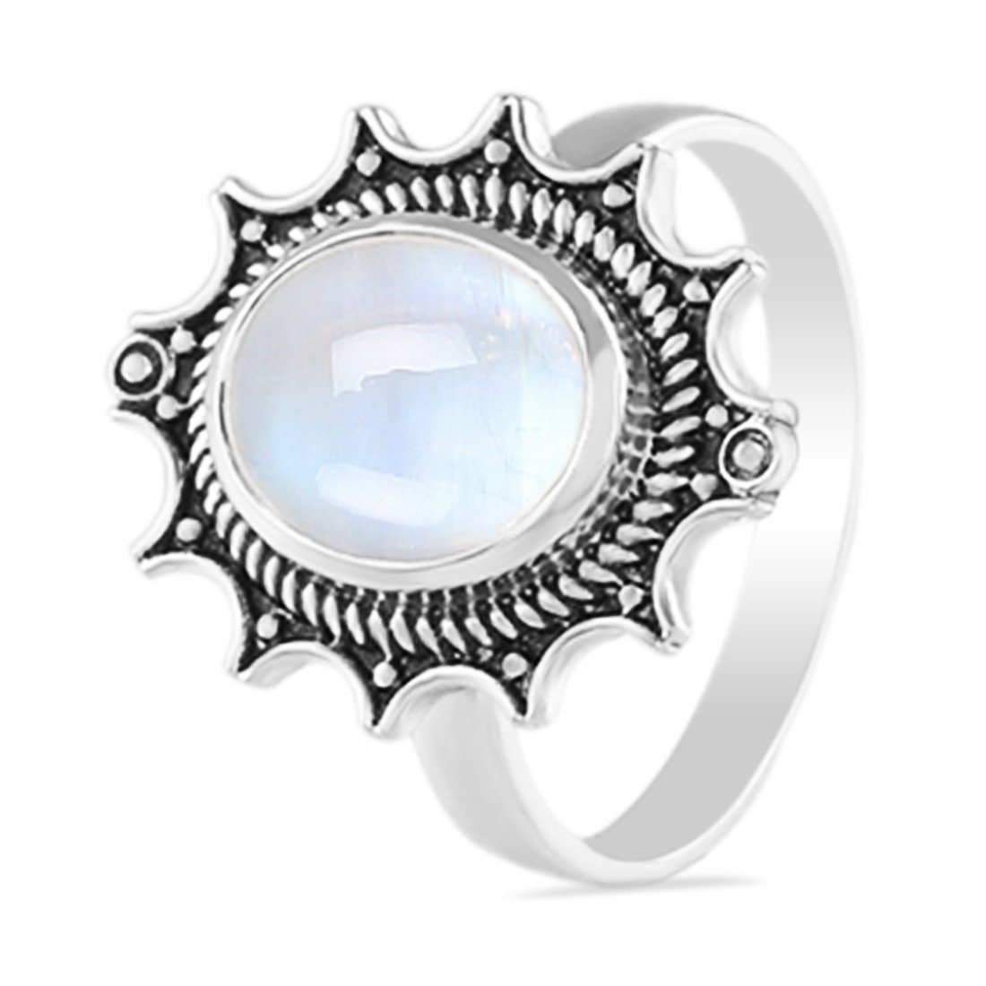 Moonstone Ring-Glitterman Moonstone Ring 925 SILVER & MOONSTONE
