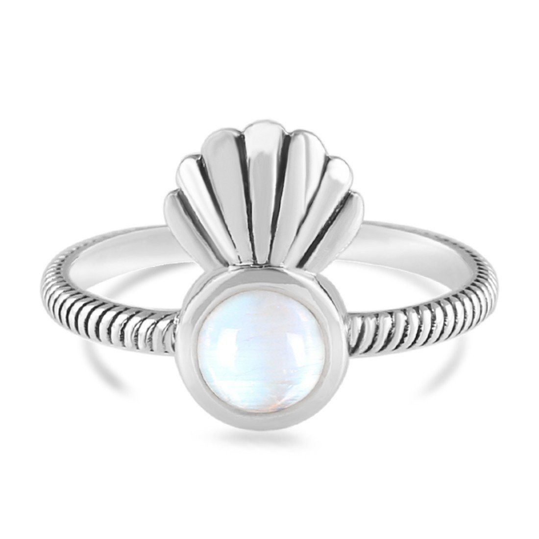 Moonstone Ring-Moon'S Sea Shell Sale Item 925 SILVER & MOONSTONE