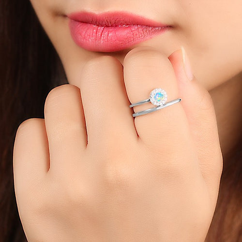 925 STERLING SILVER Opal Ring-Insight