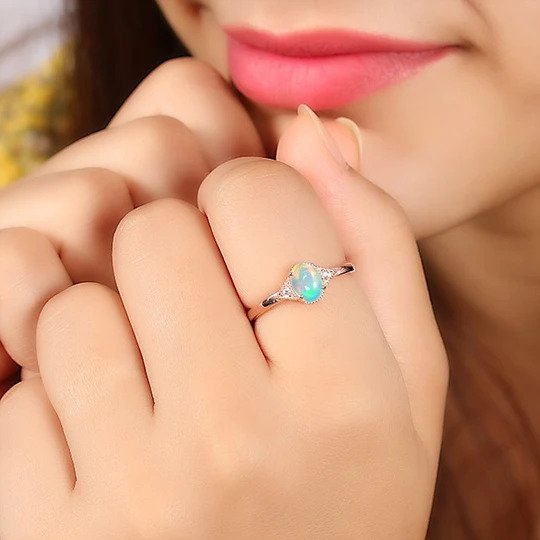 Original 14k Rose Gold Opal Stone Ring For Women
