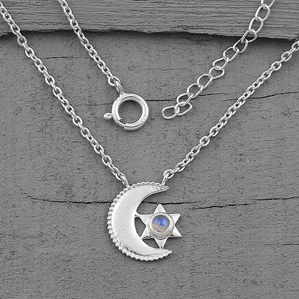 Moonstone Necklace-Moon's Compatriot - Gemstone Silver Jewelry
