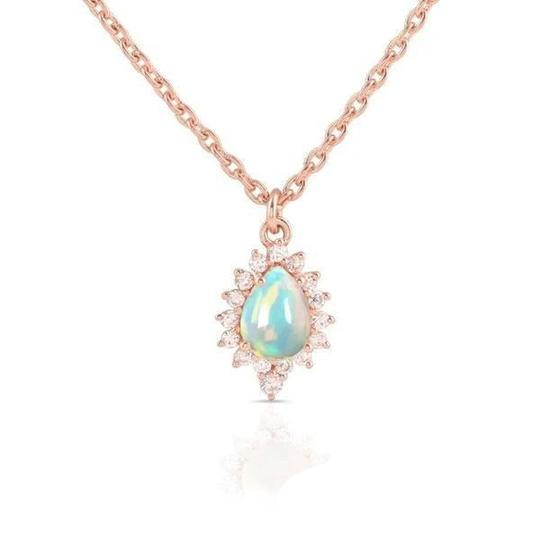 Real 14K Rose Gold Opal Stone Necklace Curio