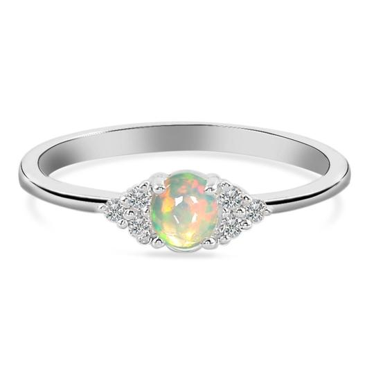 Real 925 Silver Opal Stone Ring Silk