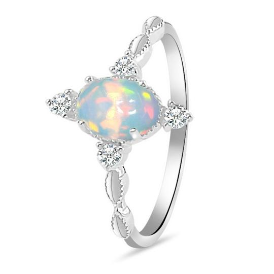Real 925 Sterling Silver Opal Ring Brilliance