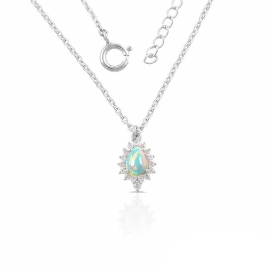 Real 925 Sterling Silver Opal Stone Necklaces For Women