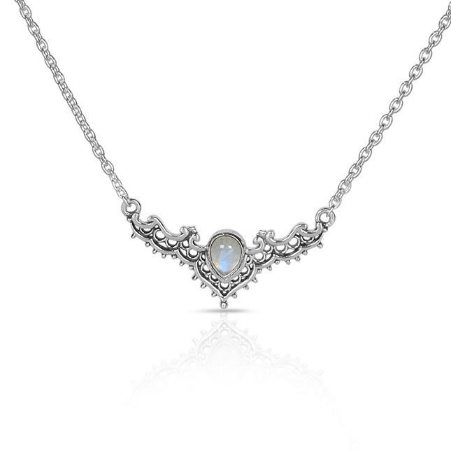 Moonstone Necklace-Iconic Delta Moonstone Necklace 925 SILVER & MOONSTONE