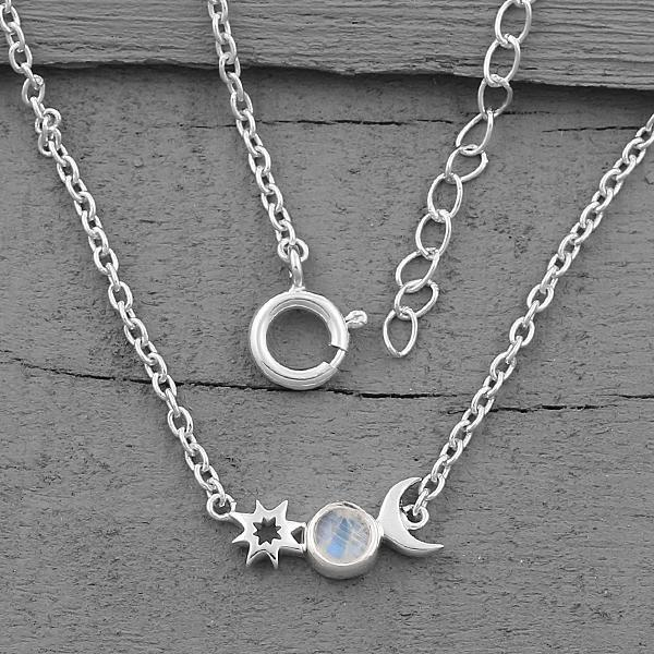Moonstone Necklace-Moon's Companion Moonstone Necklace 925 SILVER & MOONSTONE
