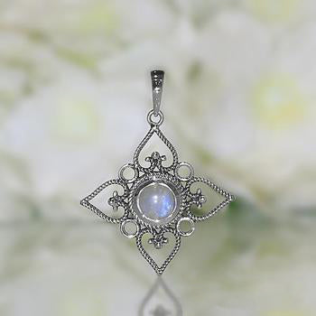 Moonstone Pendant-Floral Bliss