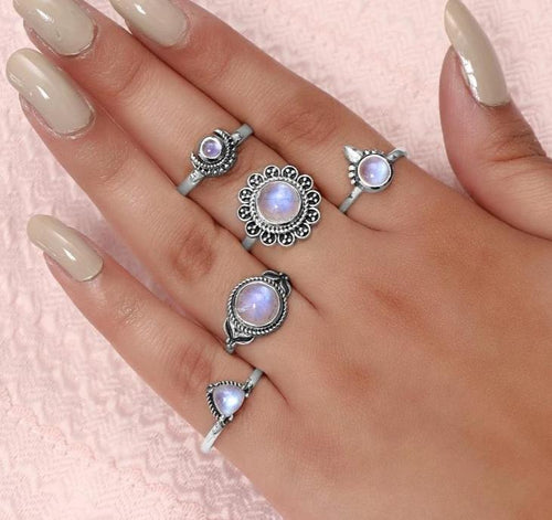 Moonstone Ring-Artistic Crescent Sale Item 925 SILVER & MOONSTONE