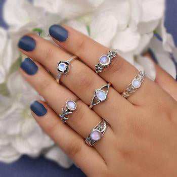 Moonstone Ring-Blooming Charm