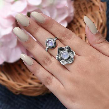 Moonstone Ring-Blossom Bliss