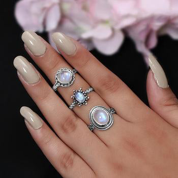 Moonstone Ring-Coral Palm