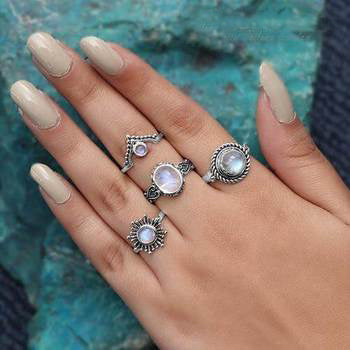 Moonstone Ring-Crowned Moon