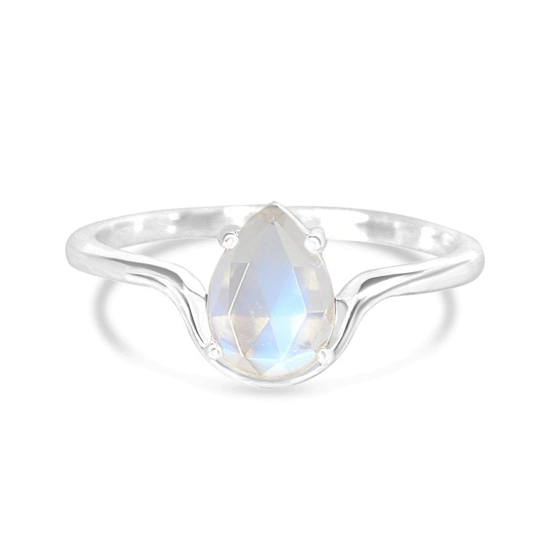 Moonstone Ring-Ecstasy-S Moonstone Ring 925 SILVER & MOONSTONE 10 Silver Pear-6x8 mm