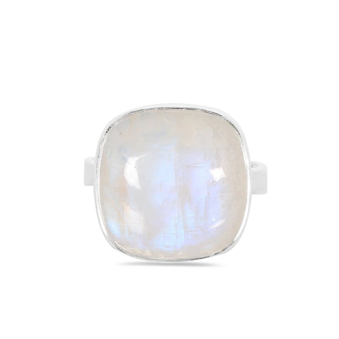 Moonstone Ring-Enchantress Moonstone Ring 925 SILVER & MOONSTONE 10 Silver Cushion-19x19 mm
