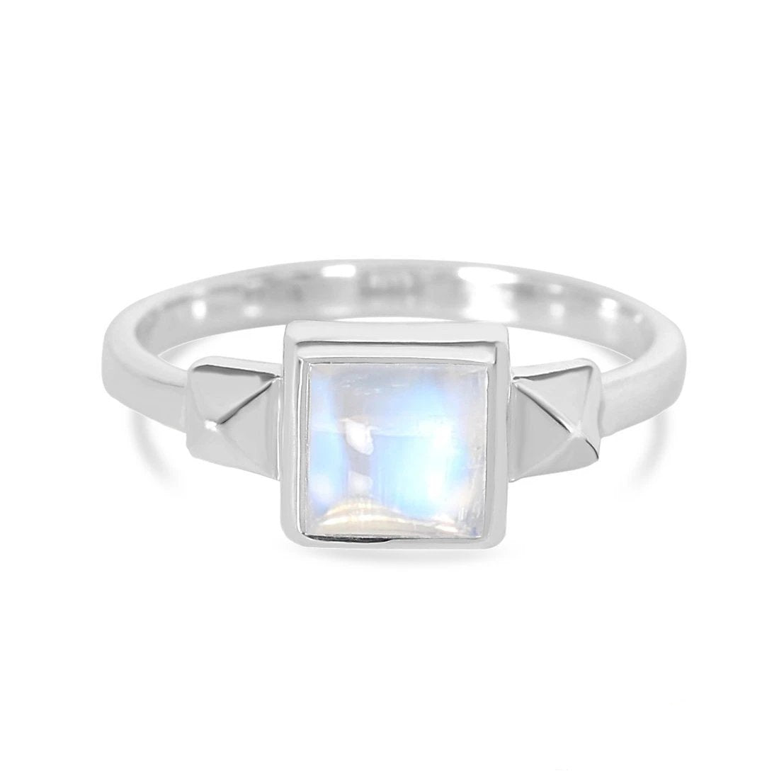 Moonstone Ring-Favor-S Moonstone Ring 925 SILVER & MOONSTONE 10 Silver Square-6 mm