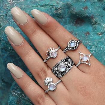 Moonstone Ring-Floral Angel