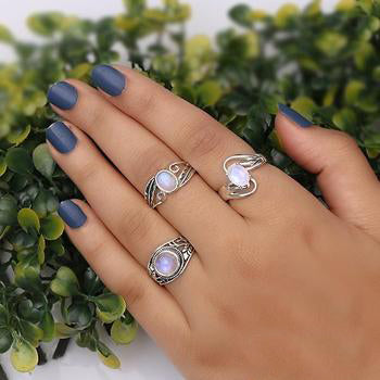 Moonstone Ring-Flowing Petals