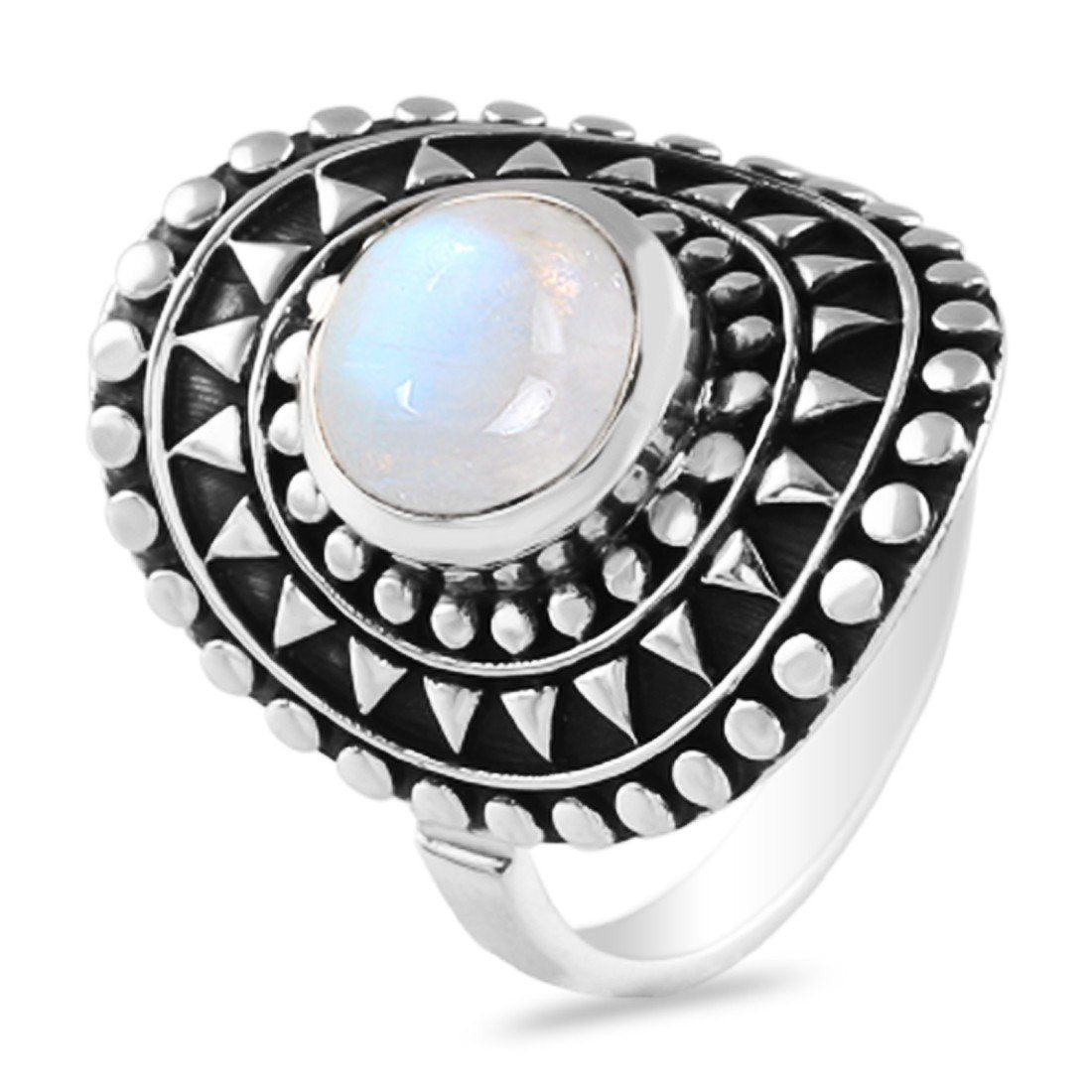 Moonstone Ring-Gleaming Planet Sale Item 925 SILVER & MOONSTONE