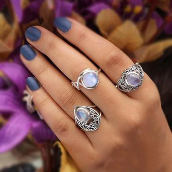 Moonstone Ring-Intertwined Moon