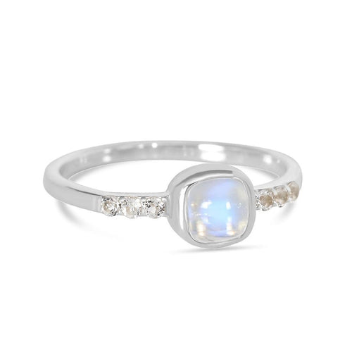 Moonstone Ring-Leisure-S Moonstone Ring 925 SILVER & MOONSTONE 10 Silver Cushion-5 mm and Round-1.6 mm