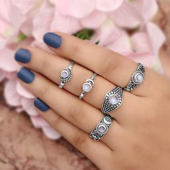 Moonstone Ring-Moon and Star