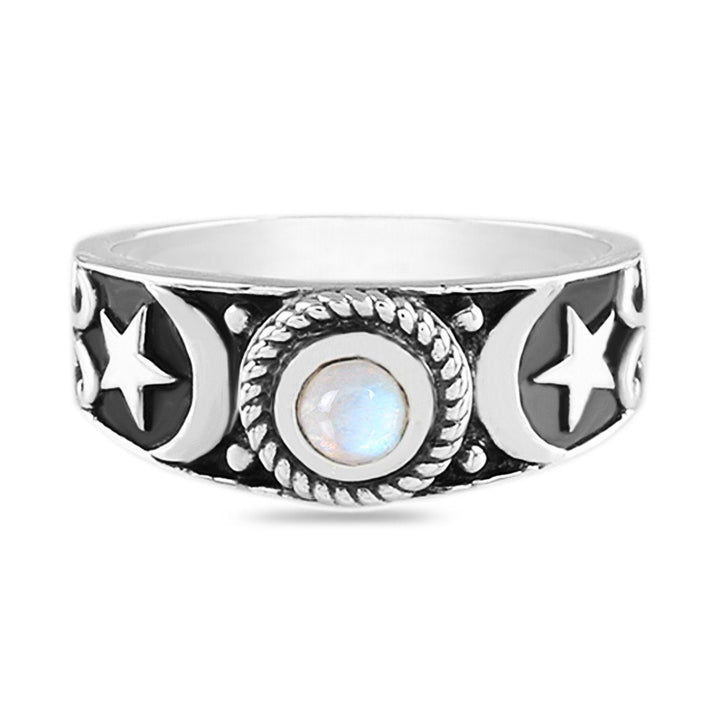 Moonstone Ring - Moon and Star