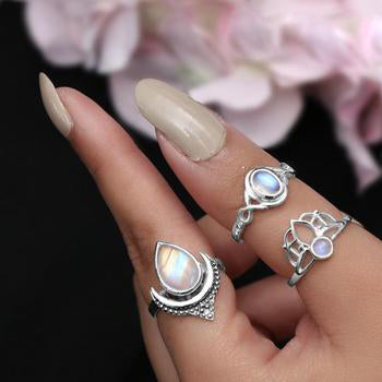 Moonstone Ring-Musical Raindrop