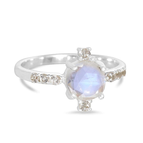 Moonstone Ring-Opulent-S Moonstone Ring 925 SILVER & MOONSTONE 10 Silver Round-5 mm and 2 mm