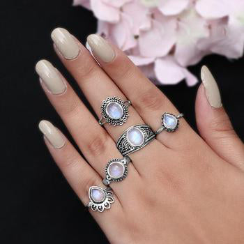 Moonstone Ring-Ornamented Teardrop