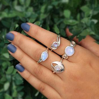 Moonstone Ring-Shimmering Moon