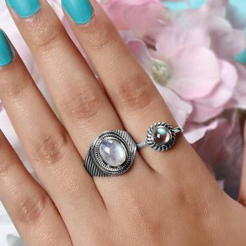 Moonstone Ring-Silver Moon