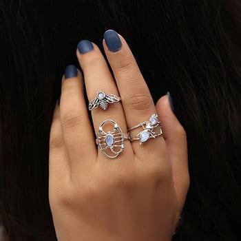 Moonstone Ring-Silver Scorpion