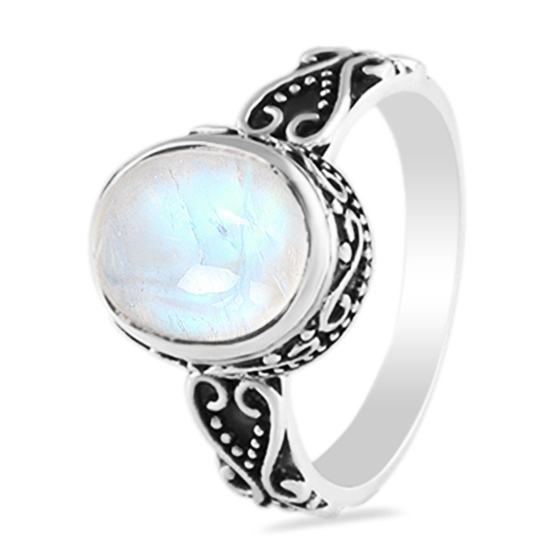 Moonstone Ring-Sparkling Moonshine Moonstone Ring 925 SILVER & MOONSTONE