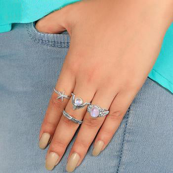 Moonstone Ring-Sparkling Yuni