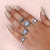 Moonstone Ring-Trinity Drop
