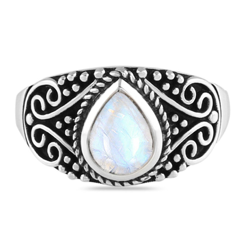 925 Silver Ring With Blue Moonstone