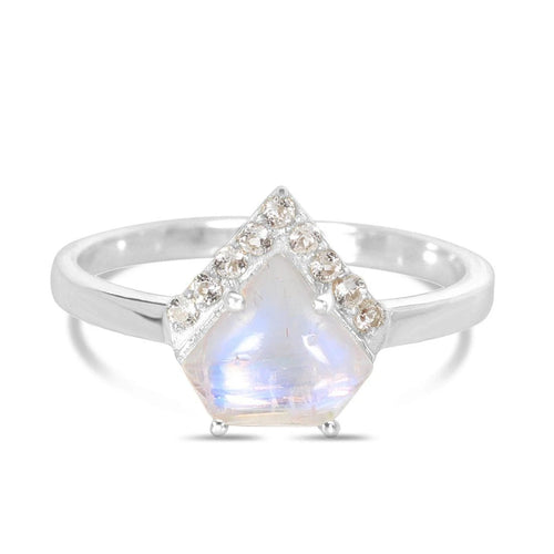 Moonstone Ring-Uplift-S Moonstone Ring 925 SILVER & MOONSTONE 10 Silver Fancy-8x9 mm and Round-1.5 mm