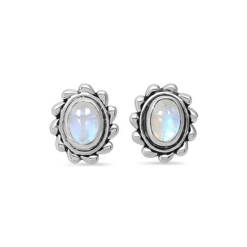 Moonstone Studs-Mighty Waves Moonstone Studs 925 SILVER & MOONSTONE