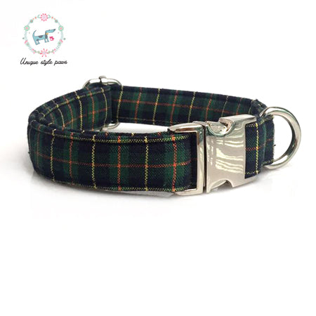 the christmas green  plaid dog collar and leash set with bow tie   dog &cat necklace and dog leash  pet accessaries