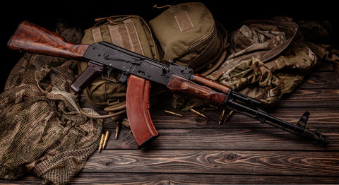 A classic Kalashnikov rifle waiting for the best AK-47 accessories and parts