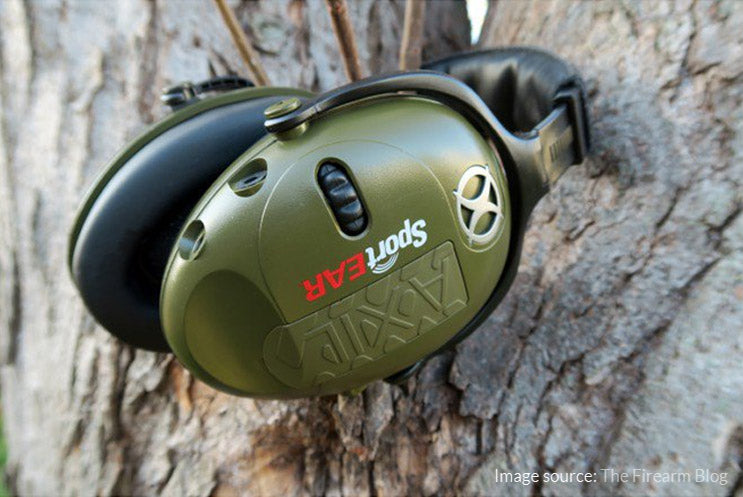 Headphones hearing protection on THE SHOOTING RANGE