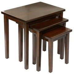 Clara Solid Malaysian Rubberwood Nest Of Tables Set Of 3 Mahogany | NEST OF TABLES UK