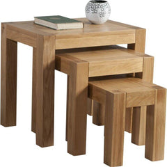 Austin Solid Oak Nest Of Tables Set Of 3 | NEST OF TABLES UK
