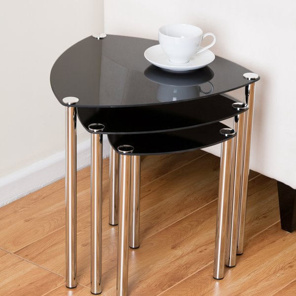 Aria 3 Piece Nest of Tables - Black