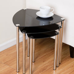 Aria 3 Piece Nest of Tables - Black | BUY FROM NEST OF TABLES UK | FREE DELIVERY UK MAINLAND