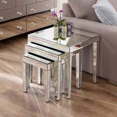 Zabia Mirrored Nest of Tables | BUY FROM NEST OF TABLES UK | FREE DELIVERY UK MAINLAND