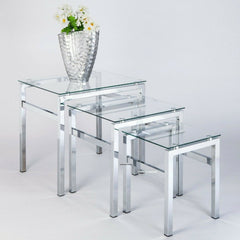 Bonnert Modern Clear Glass & Chrome Frame Nest Of Tables Set Of 3 | NEST OF TABLES UK